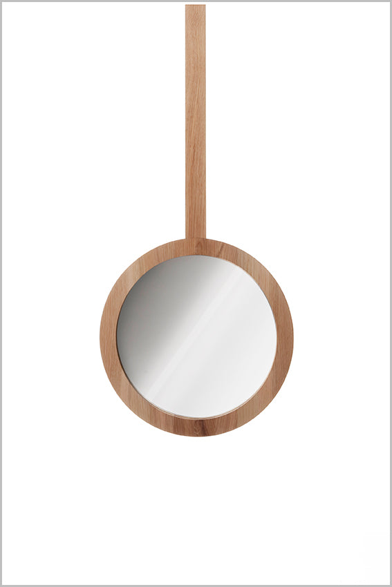Decorative round wall mirror, oak, hanging stem, 365 dia.