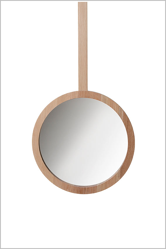 Decorative round wall mirror, oak, hanging stem, 465 dia.