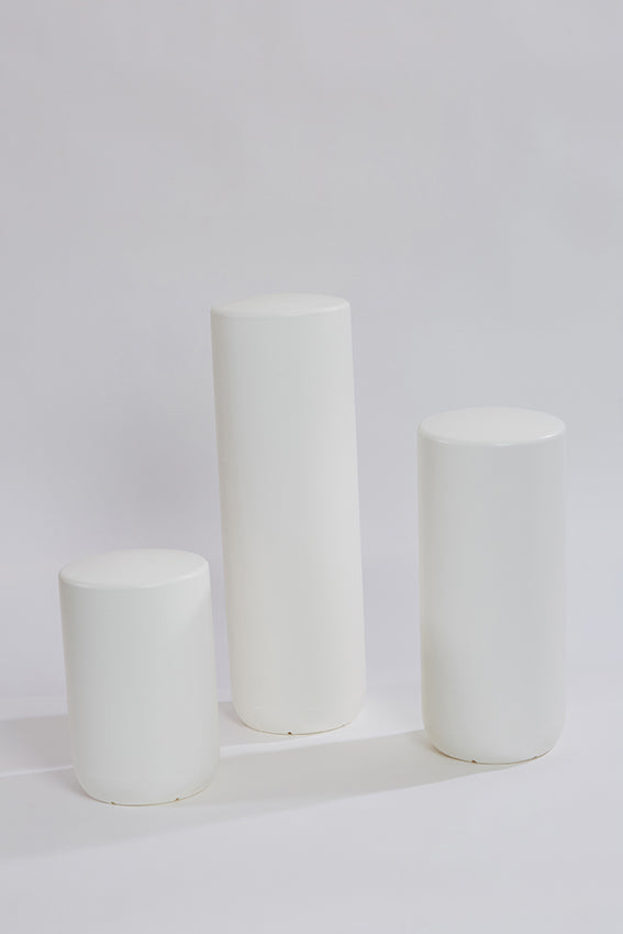 Plastic stool, perch, tubular, group, and white colour