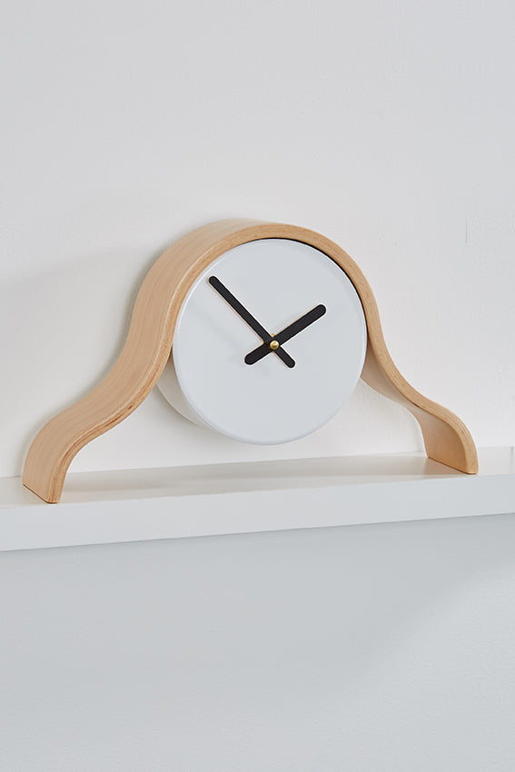 Wood frame, white mantel clock, black hands