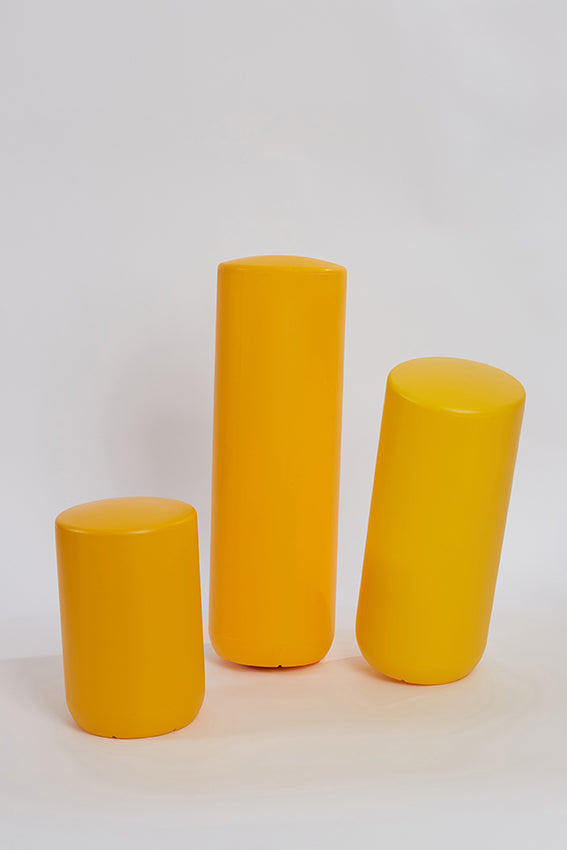 Plastic stool, perch, tubular, group, and yellow colour