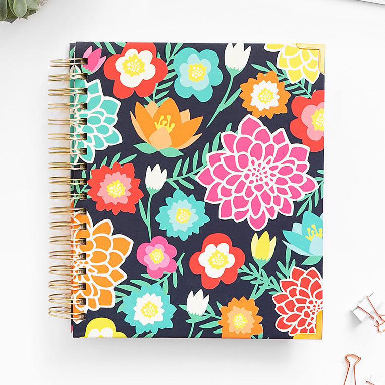Fresh floral Living Well Planner cover design.