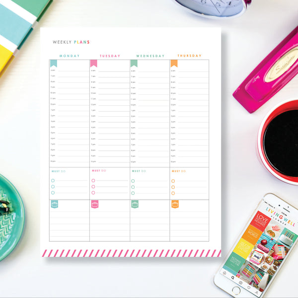 Weekly Planning Two-Page Spread - Monday Start {Digital Download}