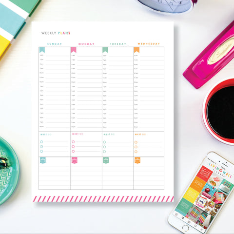Weekly Planning Two-Page Spread - Sunday Start {Digital Download}