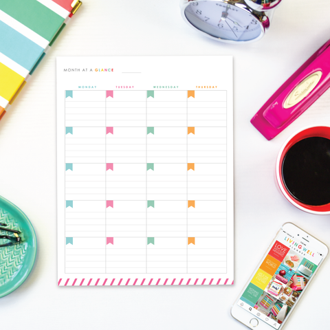 Month-at-a-Glance Two-Page Spread - Monday Start {Digital Download}
