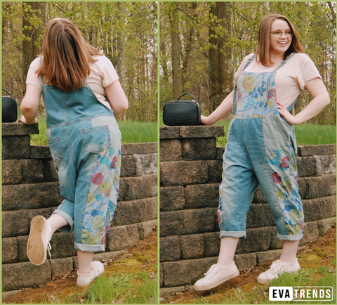 Blue Ripped Denim Floral Print Casual Loose Overalls