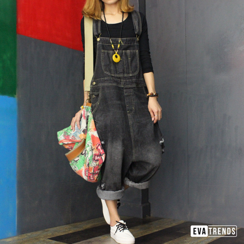 Women's Black Denim Casual Loose Overalls