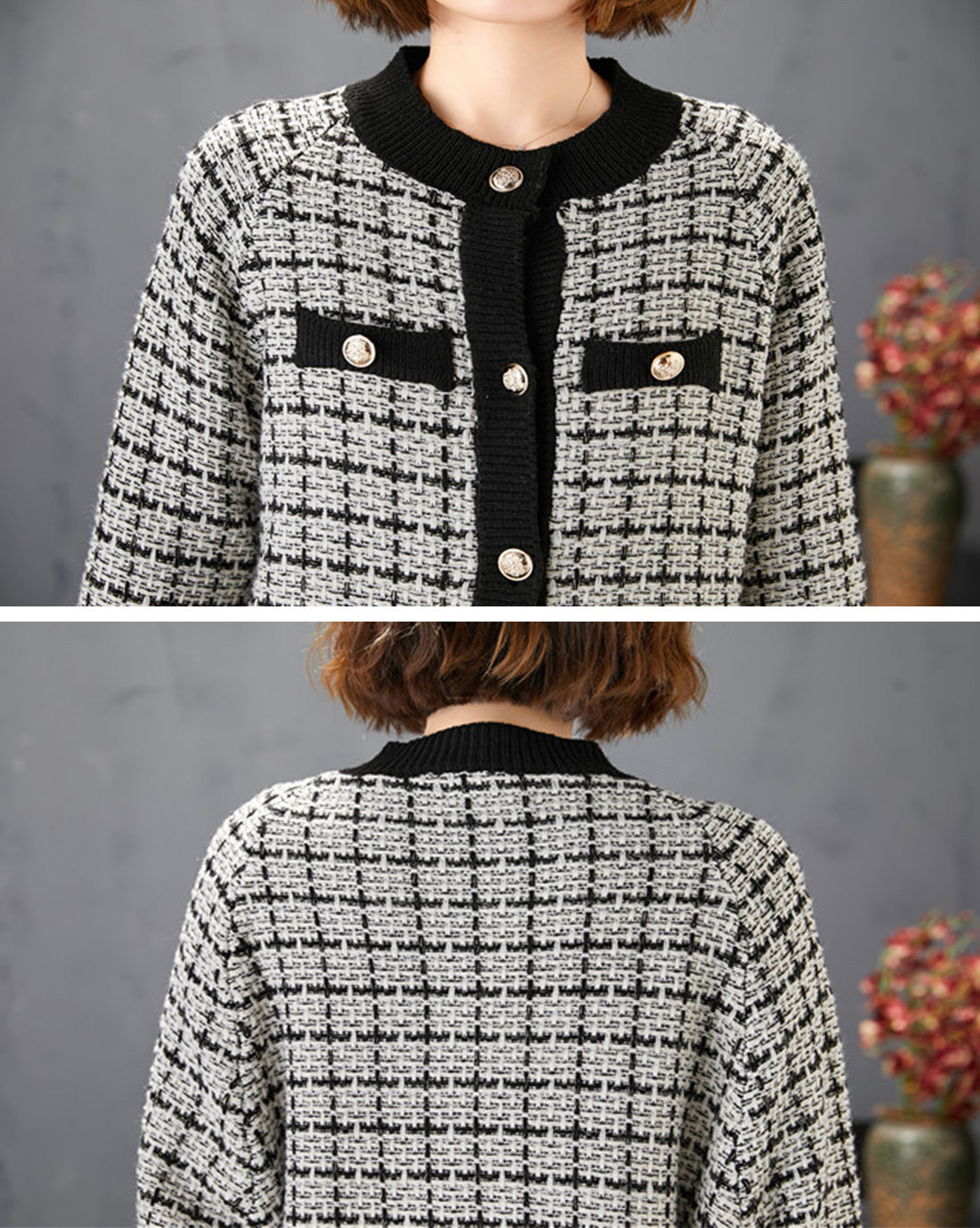 Excellent Example Textured Cardigan Sweater Details 1