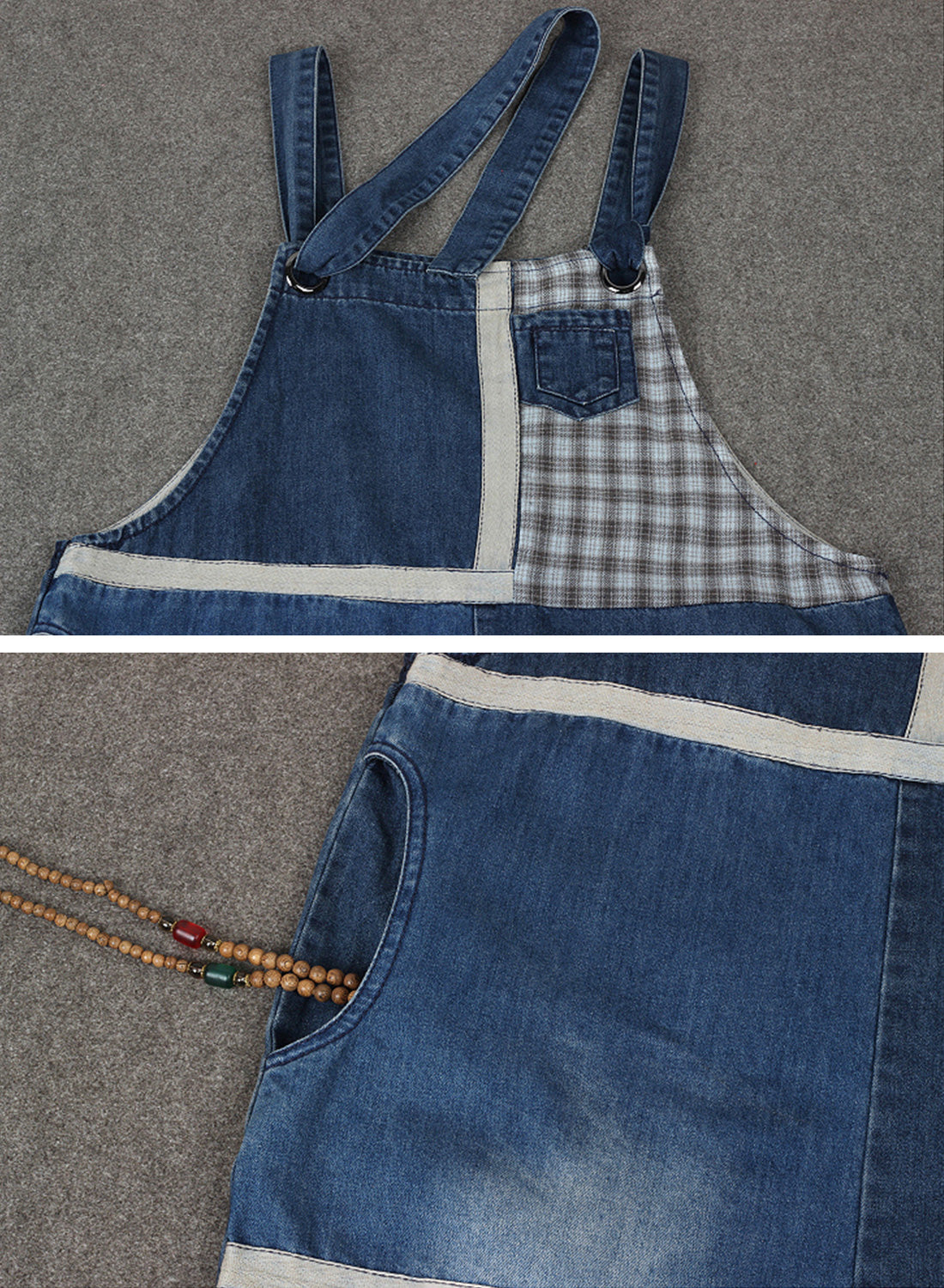 All the Feels Patched Denim Overalls Dungarees Details 1