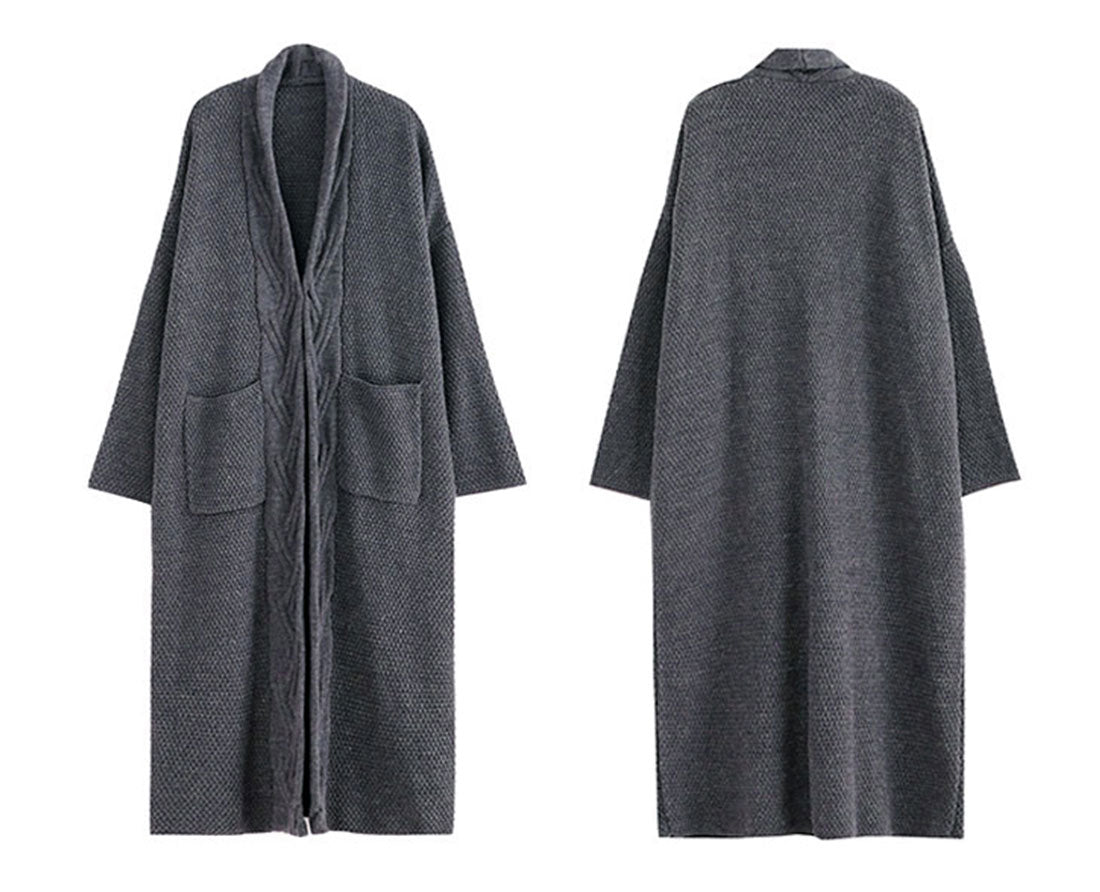 Diamond Long Cardigan Sweater with Pocket Details 1