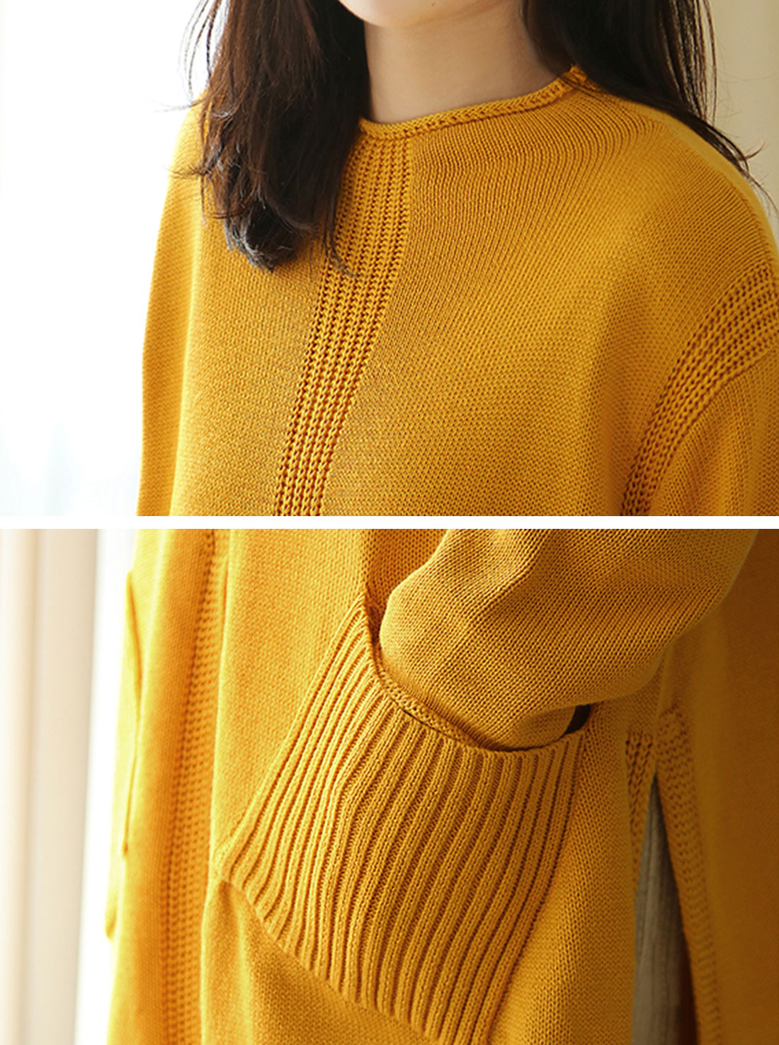 Two-pocket knitted sweater Dress Details 1