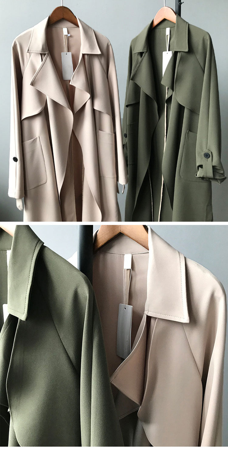 Along for the Ride Crepe Trench Coat Details 1