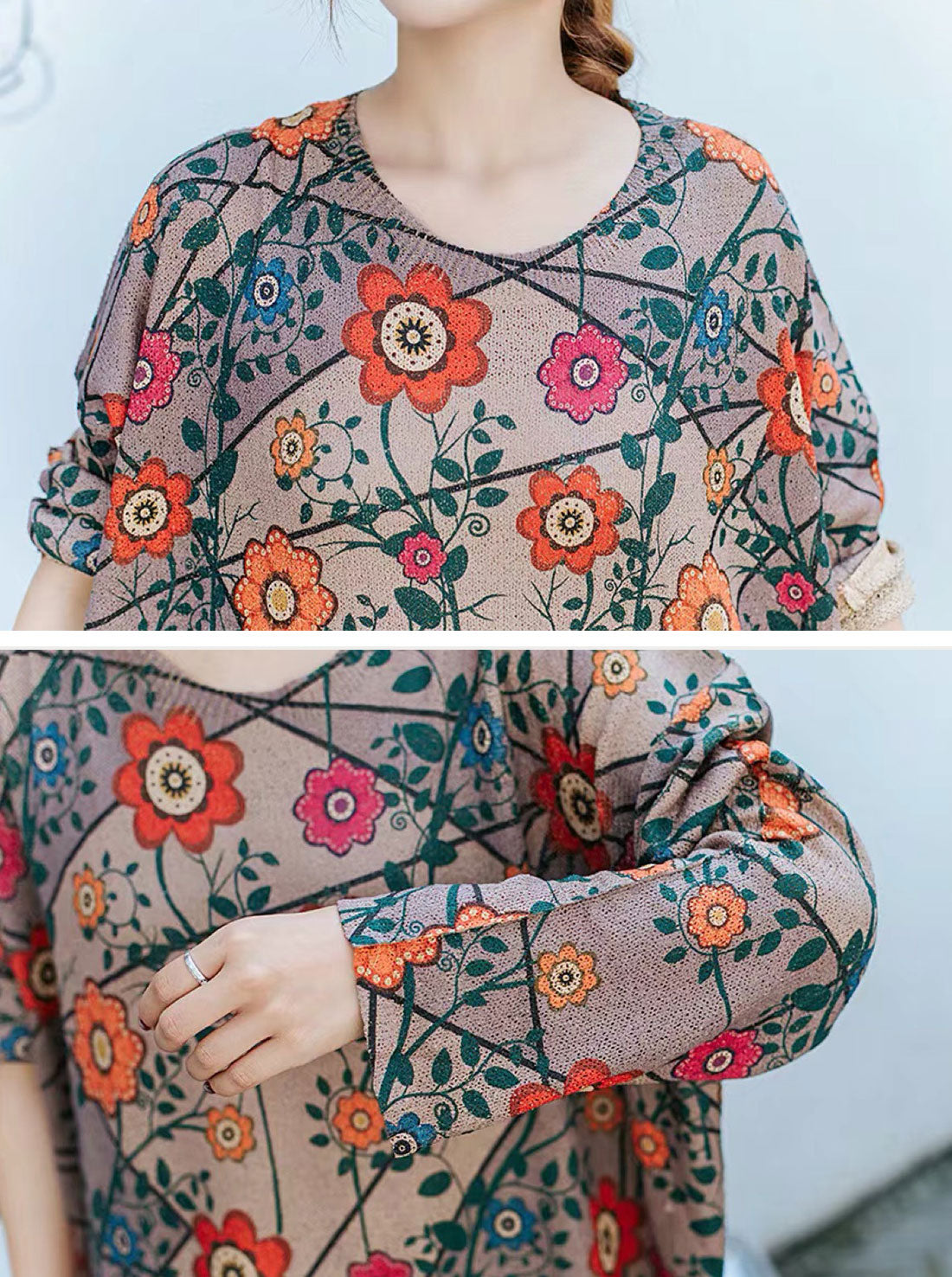 Flower Printed Knitted Sweater Dress Details