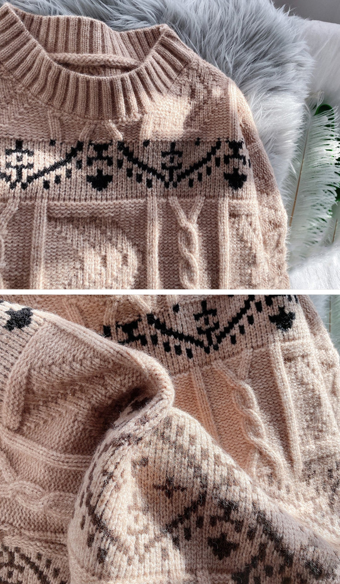 Sequin Vacation Trip Christmas Sweater Details 1