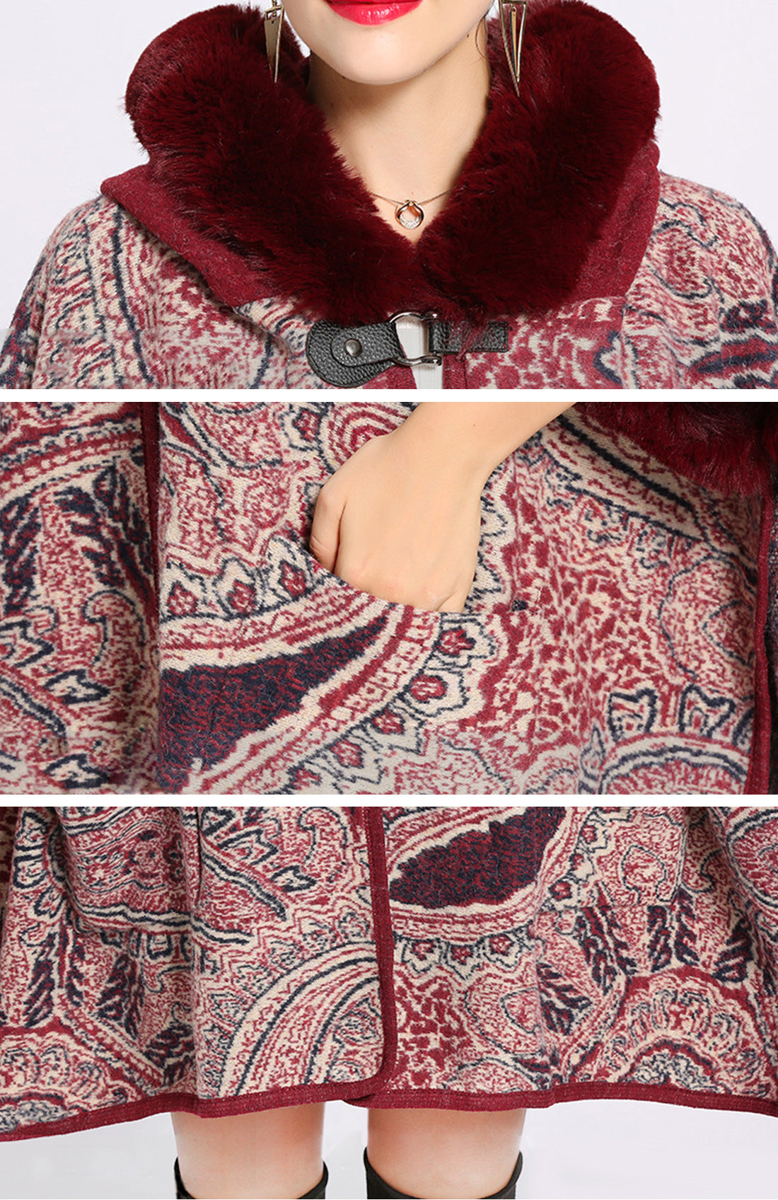 Amiable Outfitting Fluffy Plus Size Cape Cardigan Details