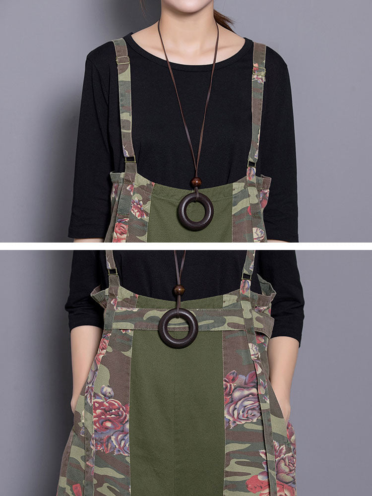 Rare Rose Hippie Army Green Overalls Dungarees Details 1