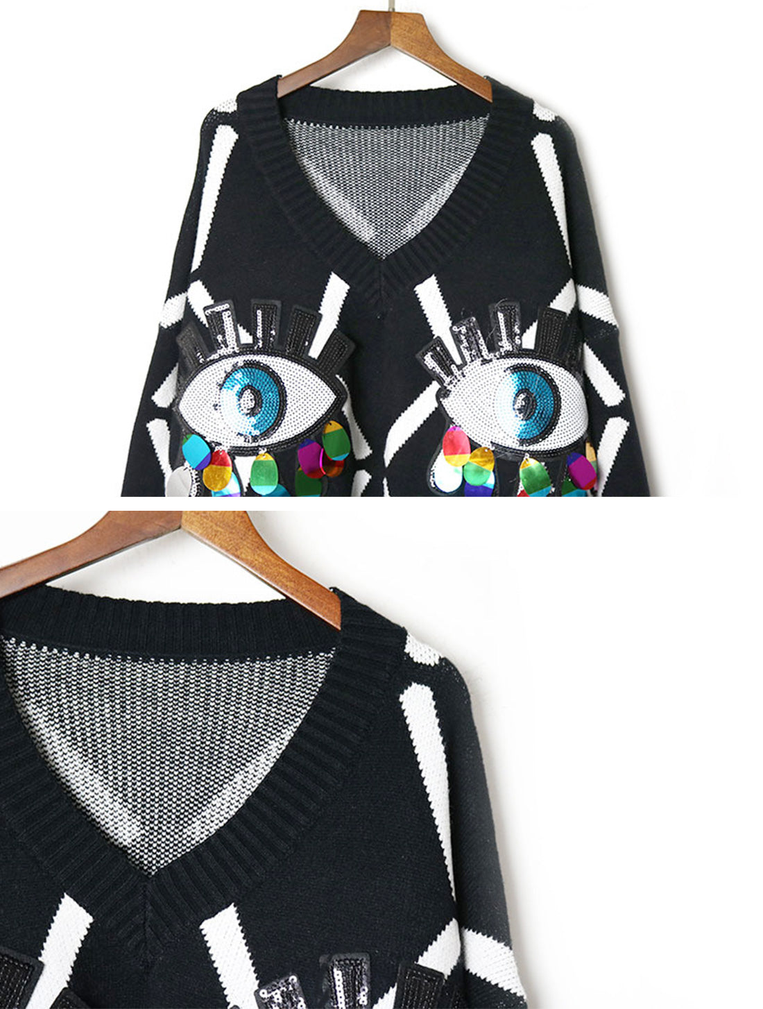 I can See You Black Sweater Top Details 1