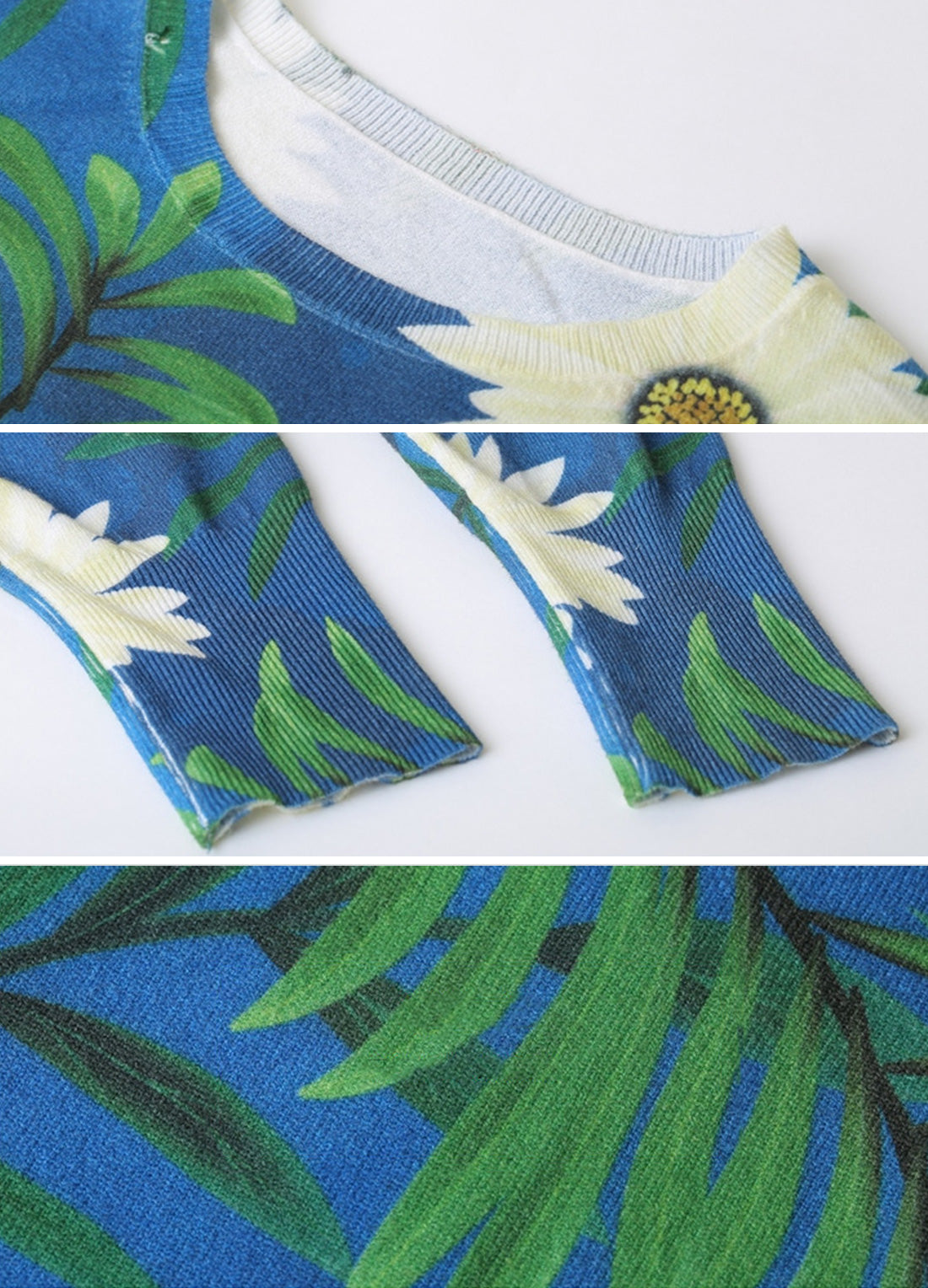 Summery Tropical Flower Print T-Shirt Details