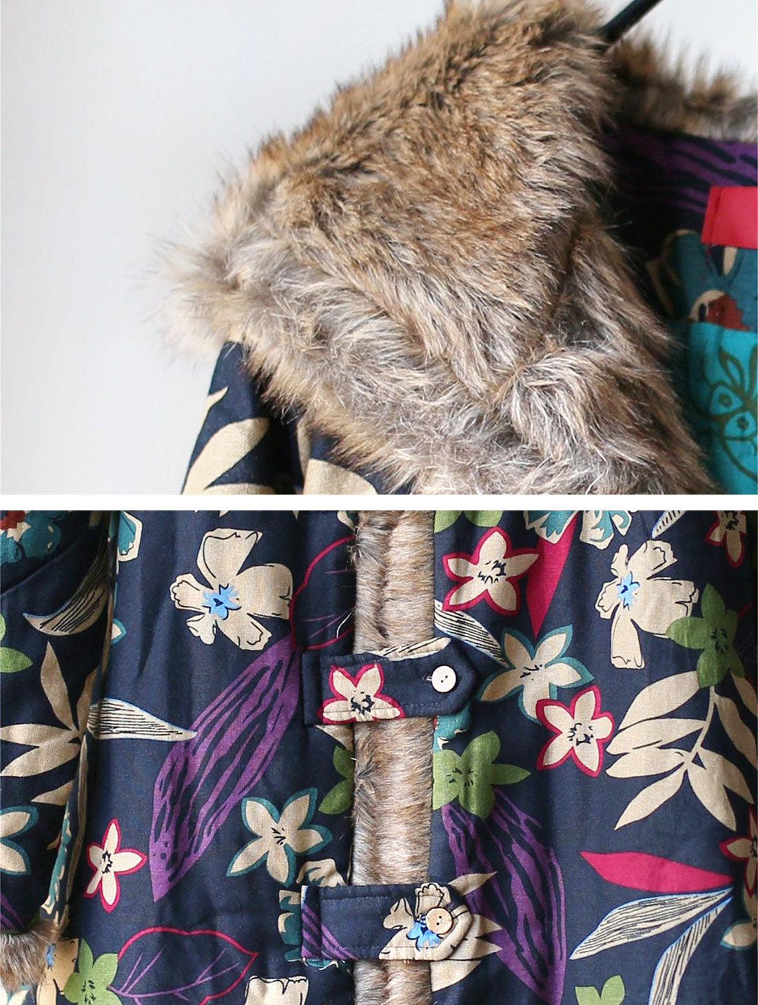 Floral Printed Hooded Cotton Coat Details 1
