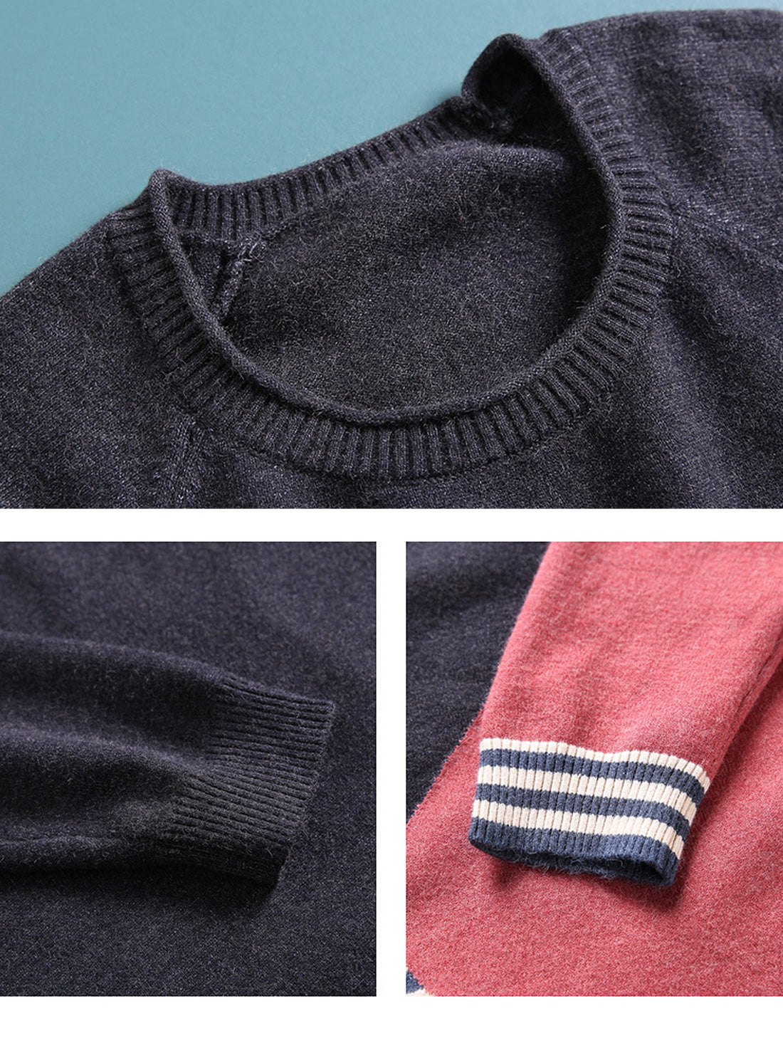 Color Block Striped Knitted Sweater Details 1
