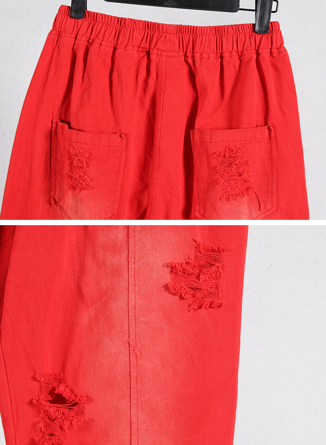 Solid color Ripped Trouser Pants Details 1