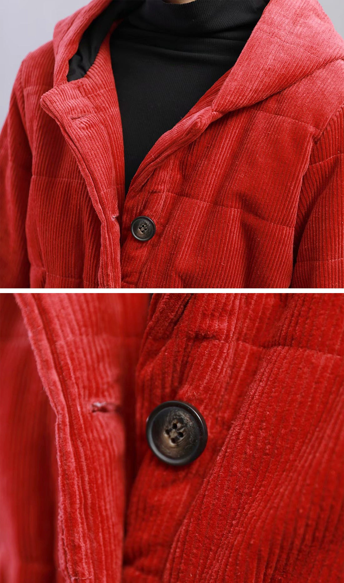 Bad At Love Padded Cotton & Curduroy Coat Details 1