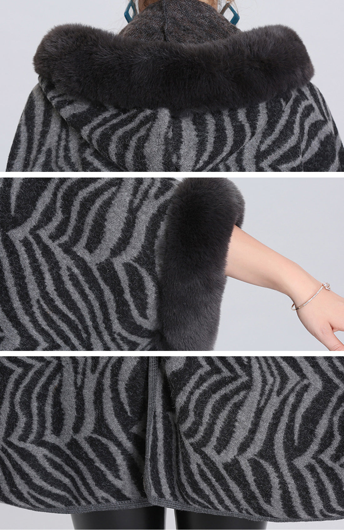 The Running Zebra Print Plus Size Cape Cardigan Details