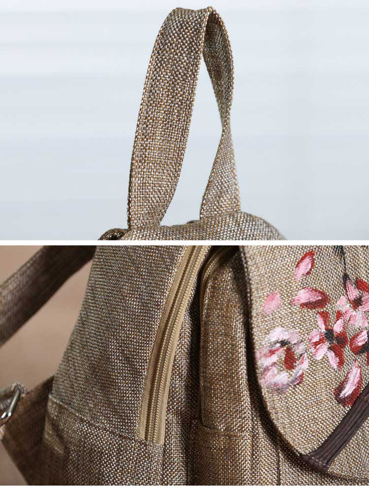 Embroidery Linen Backpack Details 1