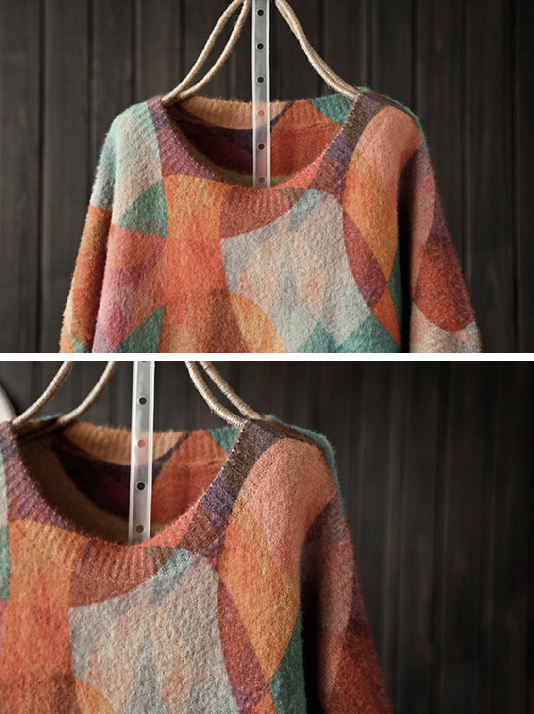 Mix-color Full Sleeve Sweater Details 1