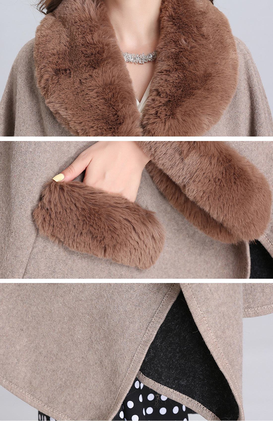 You're So Blossom Fluffy Plus Size Cape Coat Details