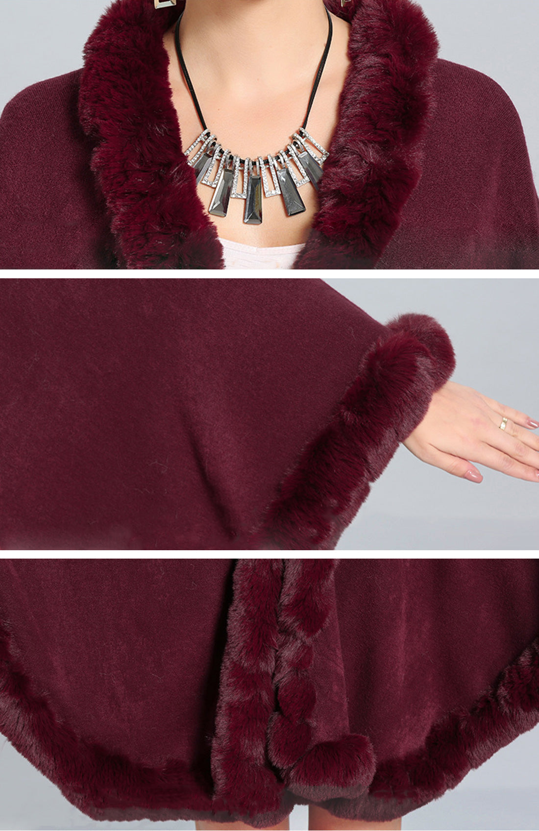 Fine and Fancy Poncho Plus Size Caped Coat Details