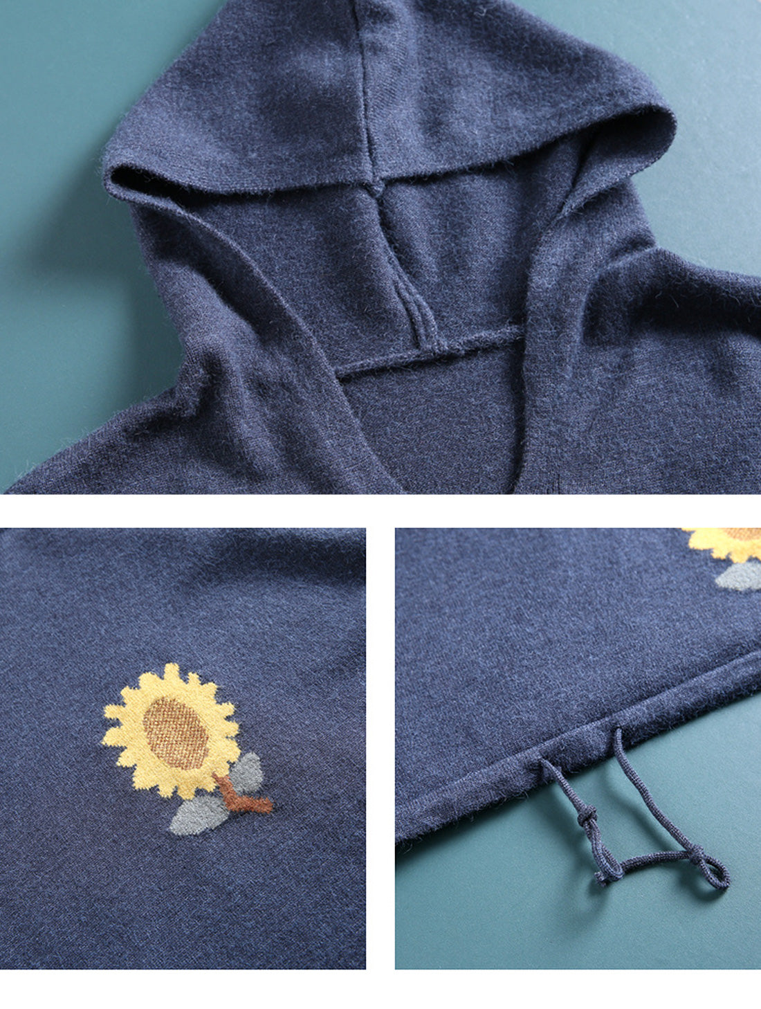 Sunflower printed knitted Hoodie Details 1