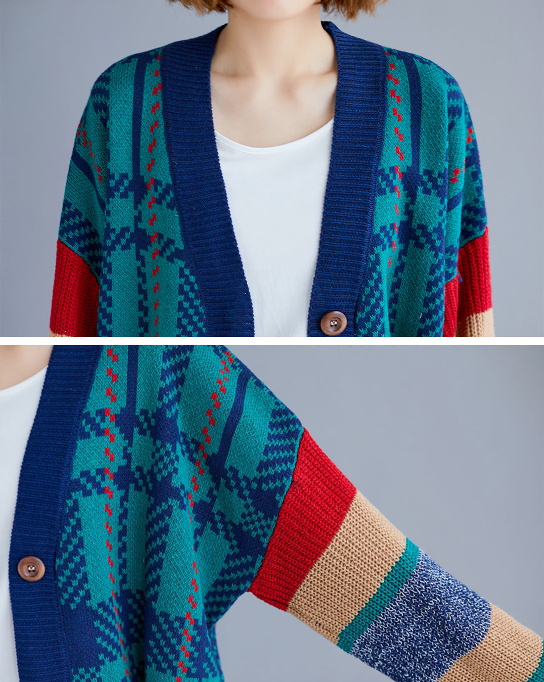 Make Mine Cozy Fair Isle Cardigan Sweater Details 1