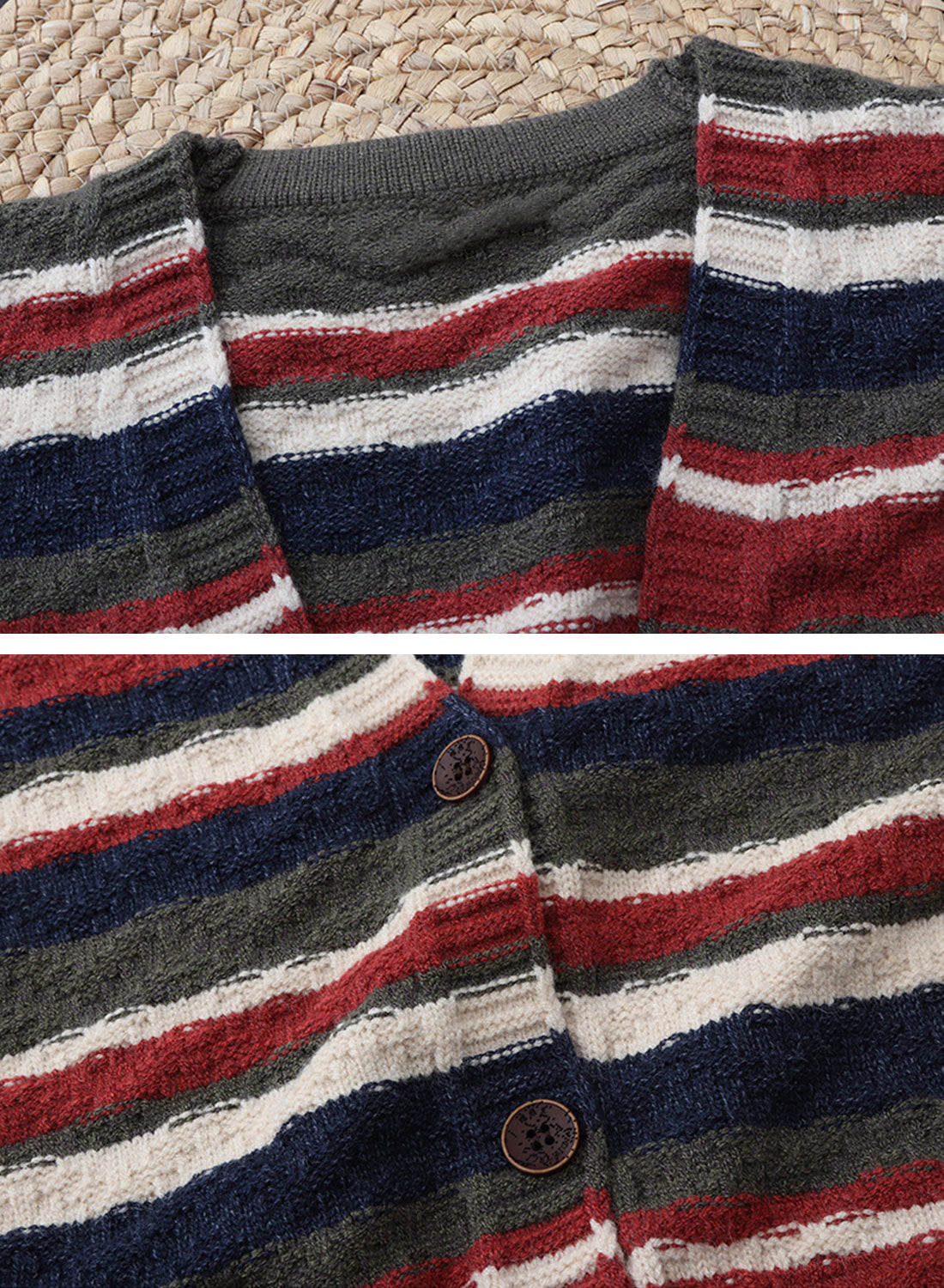 Color Block Striped Long Cardigan Sweater Details 1