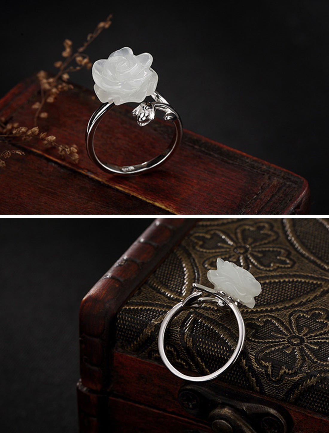 You Stun Me White Flower Rings Details 1