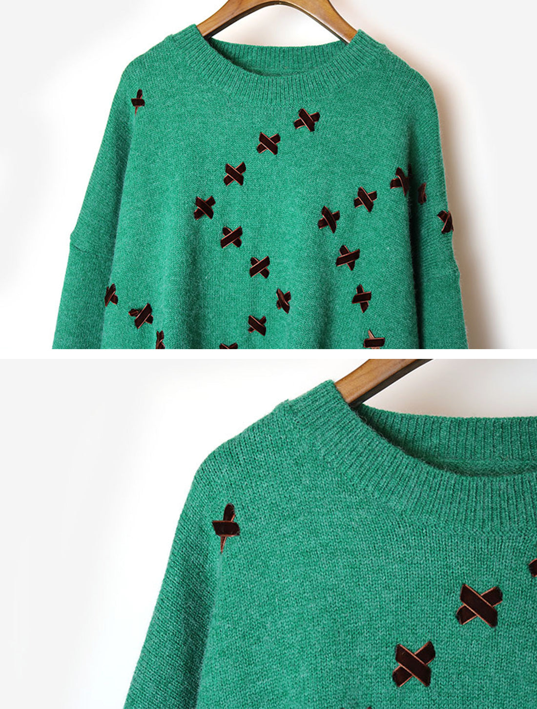 Daily Luxe Green Sweater Top Details 1