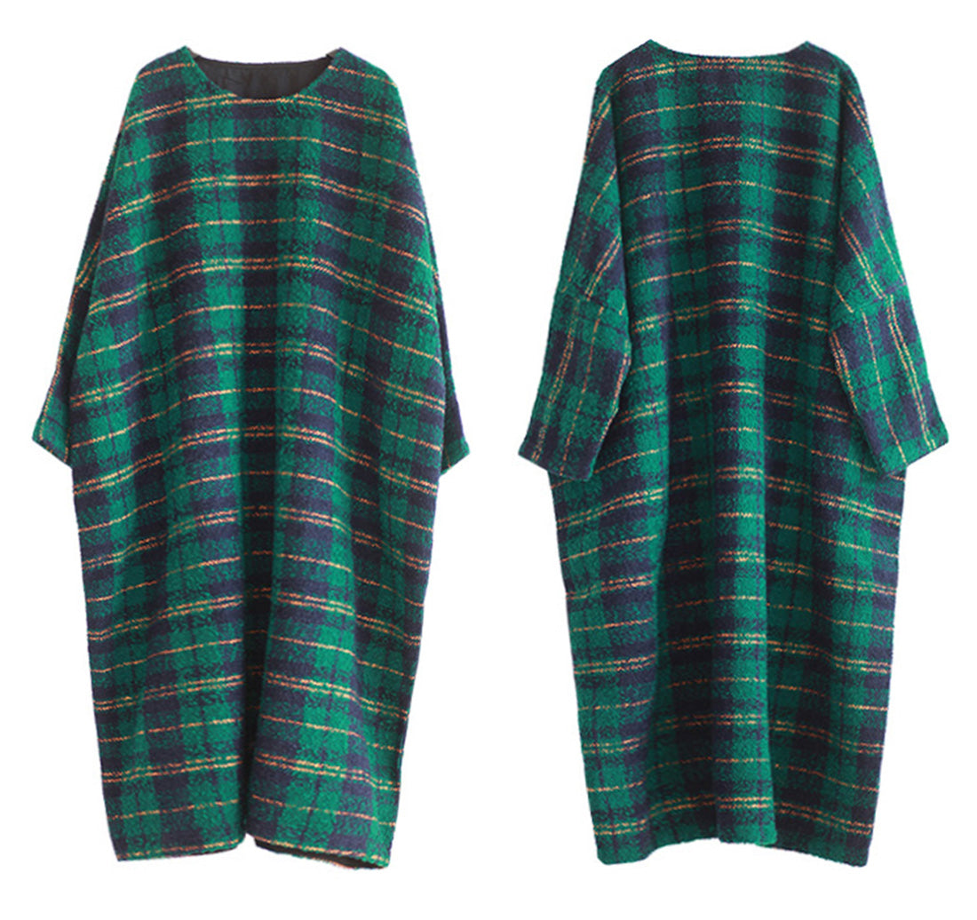 Plaid Print Plus-Sized Woolen Kaftan Dress Details 1