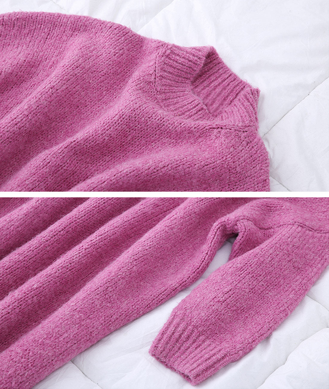 Balloon Style Loose Pink Sweater Dress Details 1