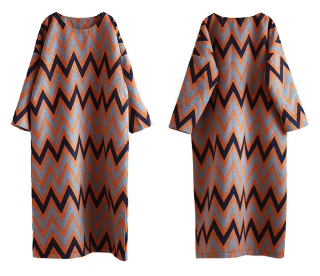 Seein' Zig-Zag Stripes Woolen Maxi Dress Details 1