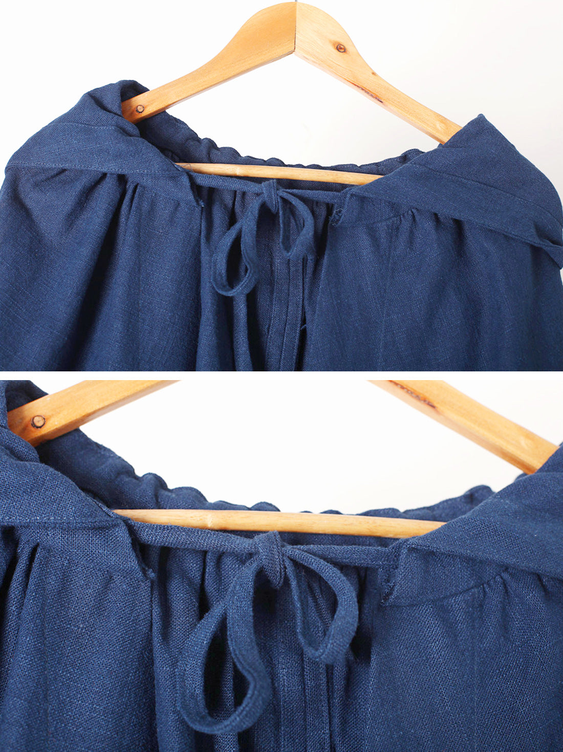 Solid Color Hooded Linen Cape Coat Details 1