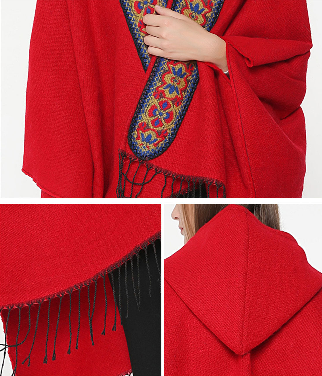 Splicing Red Shawl Cardigan with Hooded Details 1