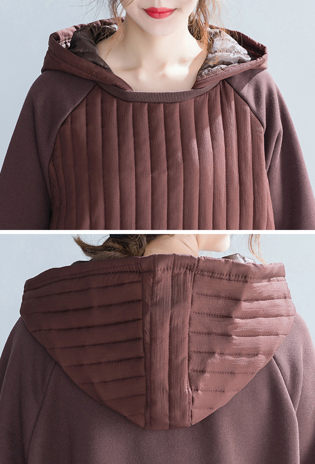 Tune In Brown Cotton Hooded Dress Details 1