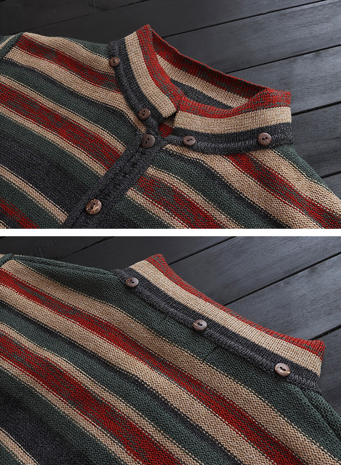 Striped Hooded Cardigan with Pockets Details 1