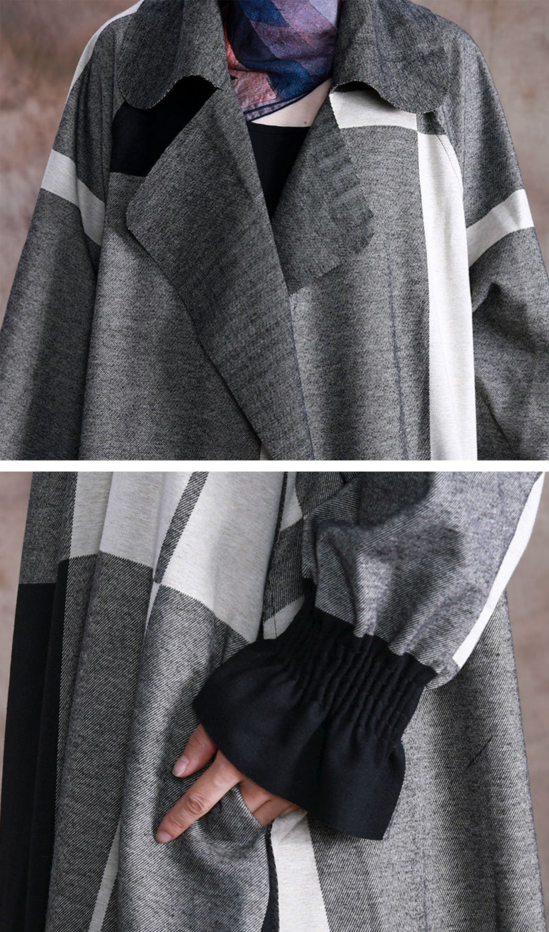Splicing Grey Coat with Tailored Collar Details 1