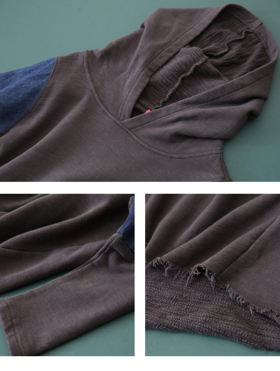 Denim Stitching Cotton Hoodies Details 1