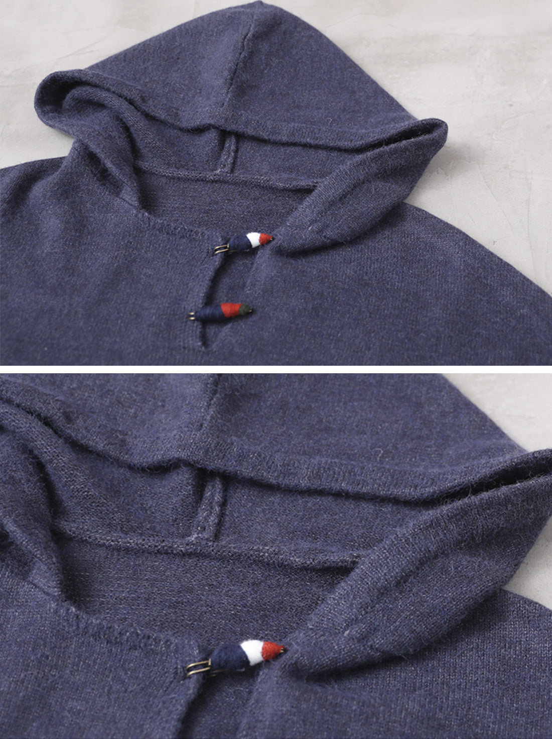 Solid Color Half-Sleeve Hooded Sweater Details 1