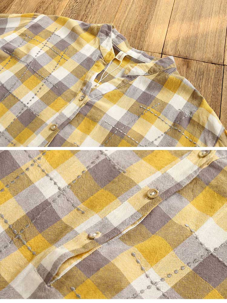 It's Undeniable Button-Up Plaids Shirts Details 1