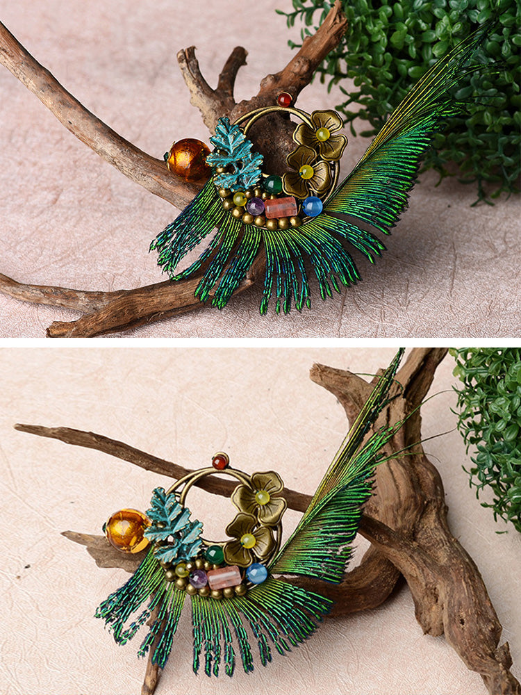 Peacock Bird Brooch Details 1