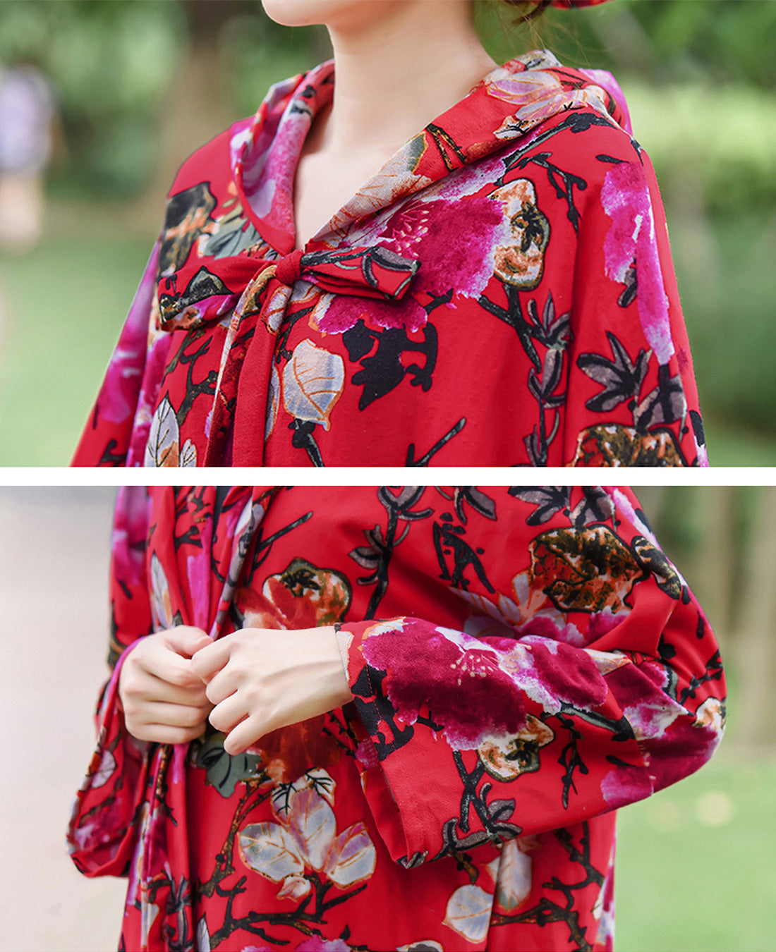 Floral Printed Hooded Red Cape Coat Details 1