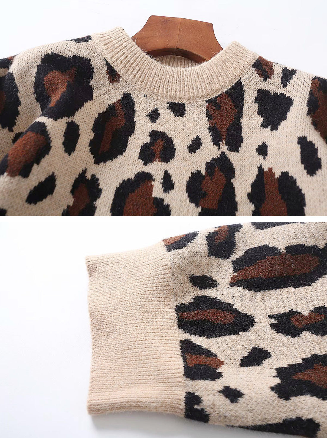 Loose Leopard Print Pullover Sweater Top Details 1